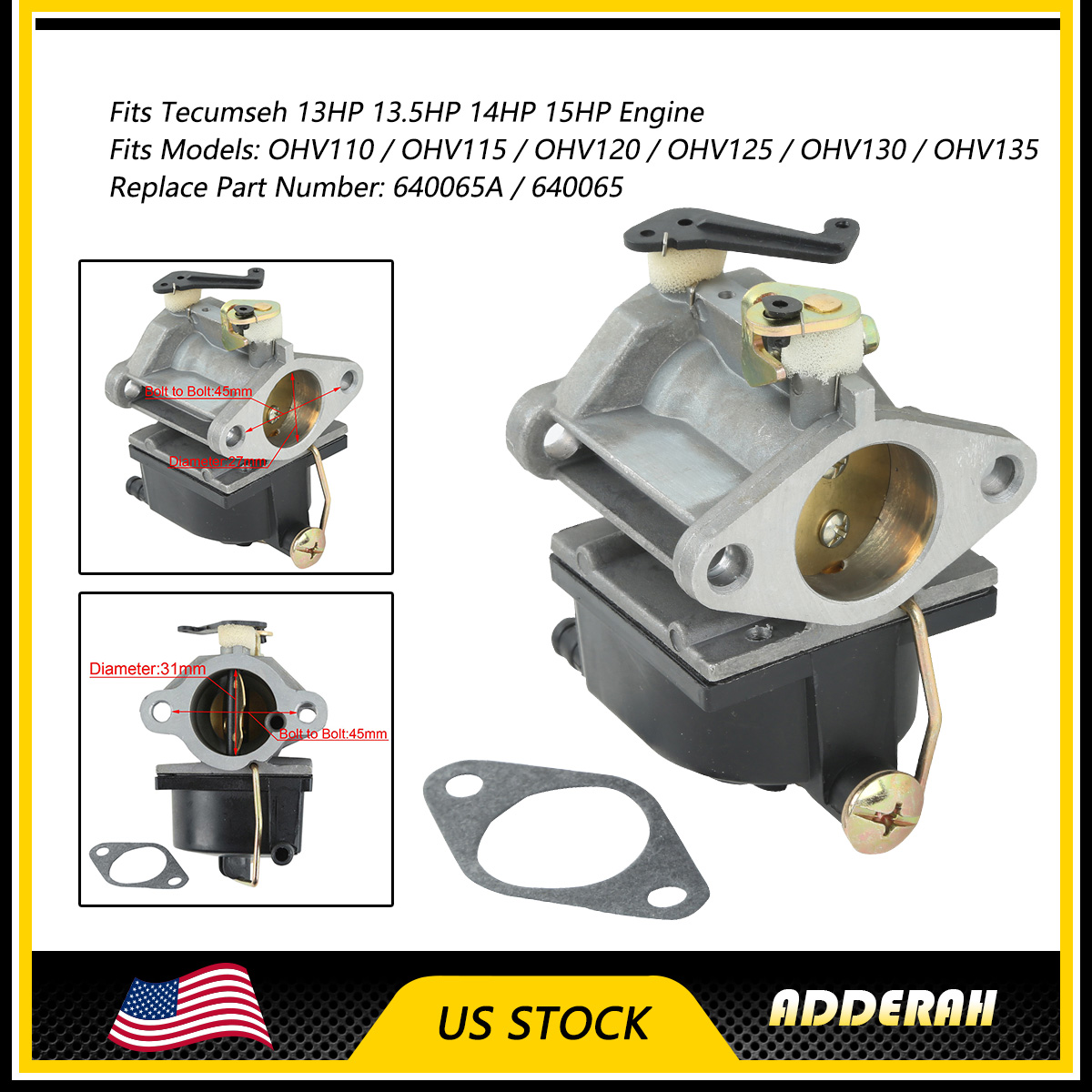 Carburetor for Tecumseh 640065A 640065 OHV110 OHV115 OHV120 OHV125 OHV130 OHV135 OV358EA Engines 13HP 13.5HP 14HP 15HP Tractor