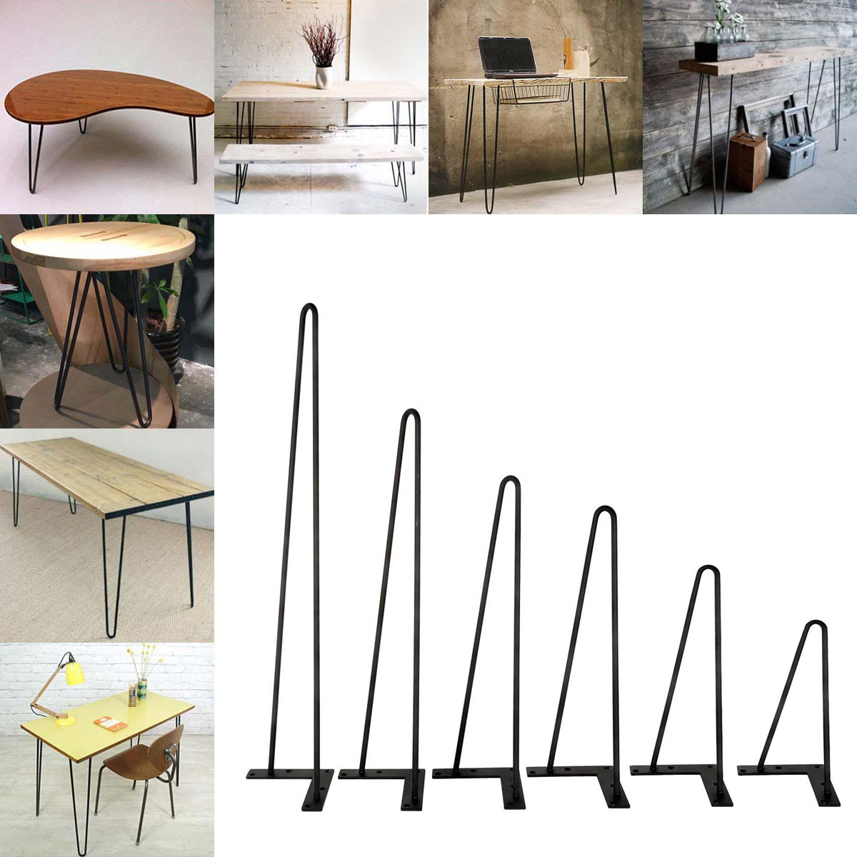 Coffee Table Black Hairpin Legs 8 Quot 30 Quot Set Of 4 3 8