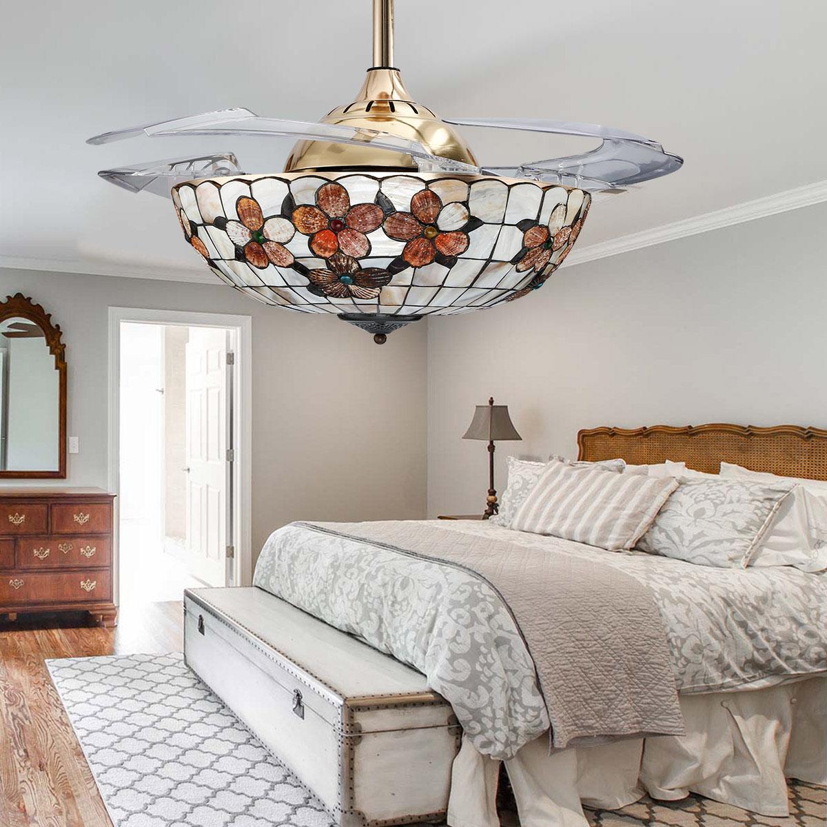 Led Ceiling Fan Light Chandelier Lamp Retractable Blade
