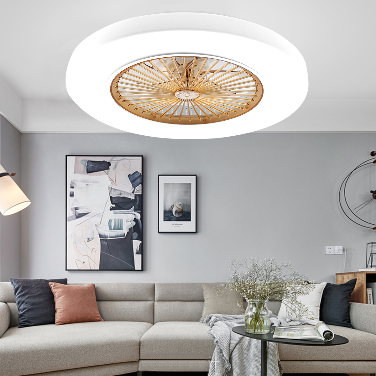 Image of: 22 6 Inch Modern Ceiling Fans Led Light Chandelier 3 Color Speed Change Remote Ebay