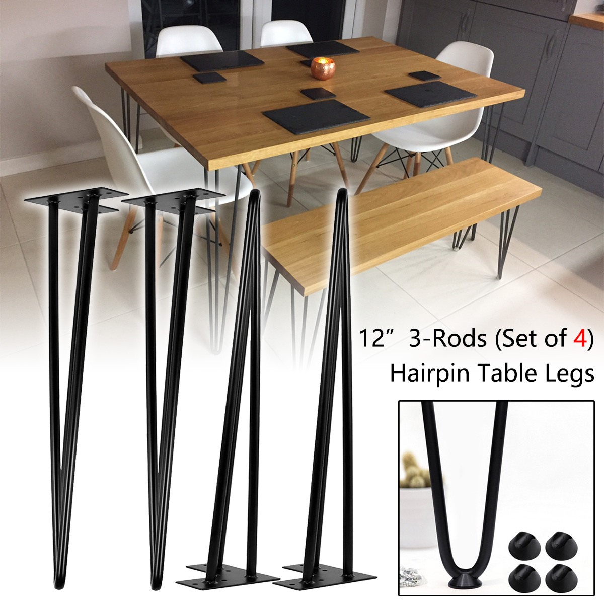 Picture of: 28 Heavy Duty Industrial Metal Leg 3 Rod Coffee Table Leg For Home Furniture Diy Office Desk End Table Night Stand Set Of 4 Hairpin Table Leg Bspsss6no2 Edu In