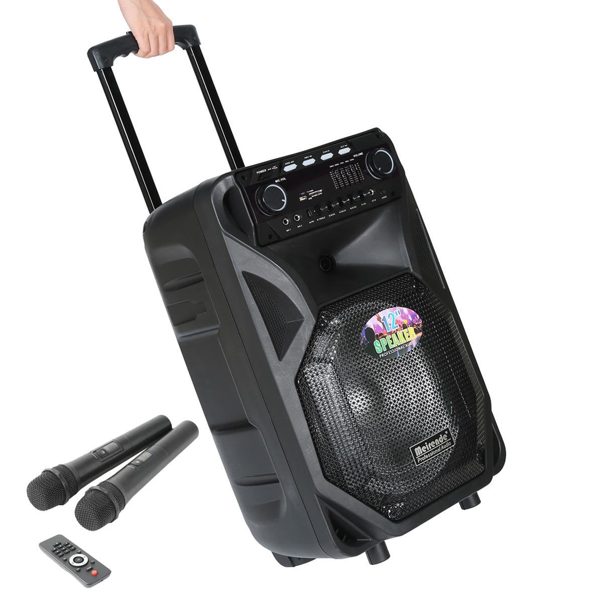 portable 12 series speaker dj pa system bluetooth dual wireless mics karaoke ebay. Black Bedroom Furniture Sets. Home Design Ideas