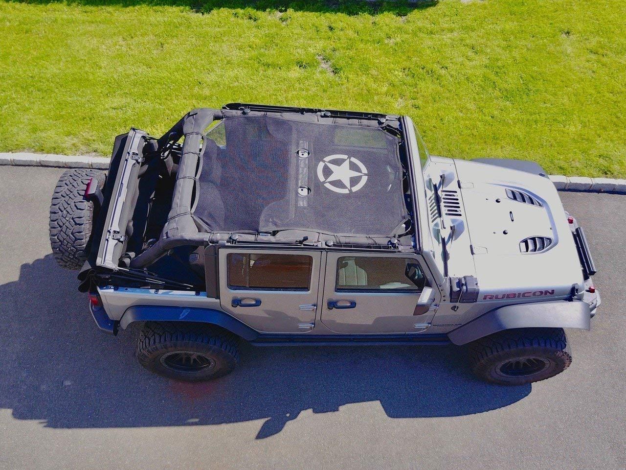 Sun Shade Sunshade Mesh Full Top Cover UV Protection For Jeep Wrangler JK 4 Door