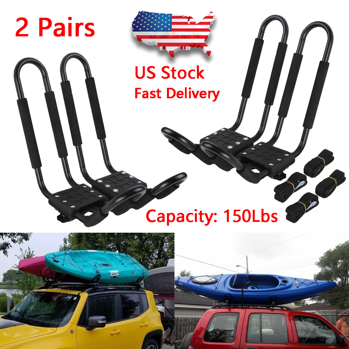 DrSportsUSA 1 Pairs Universal J-Bar Kayak Rack Roof Top Carrier for Kayak Canoe Paddle Boat Mounted on Car SUV