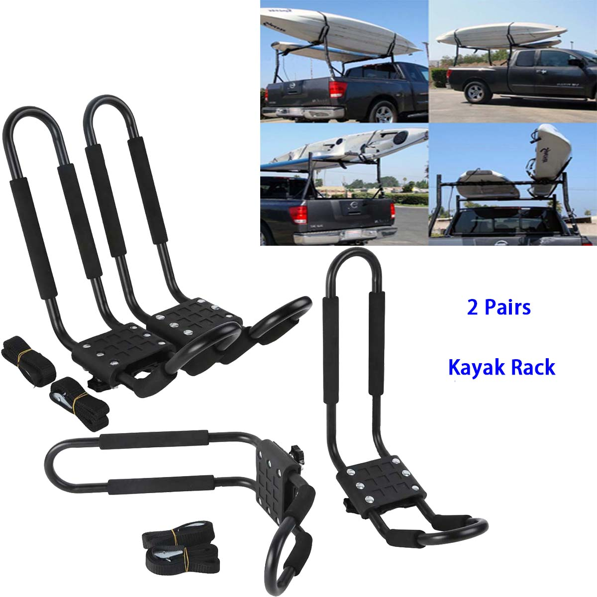 Kayak Roof Rack For Cars >> Details About 2 Pair Canoe Boat Kayak Roof Rack Car Suv Truck Top Mount Carrier J Cross Bar Us