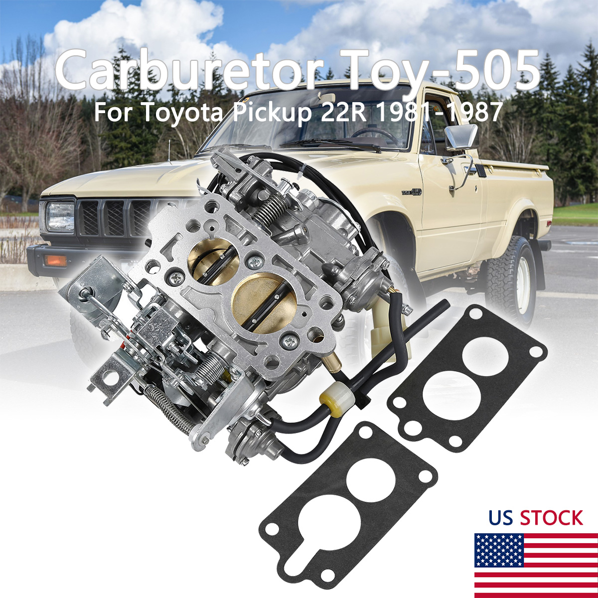 Nice Carburetor Toy-505 For Toyota Pickup 22R 1987-1987 W// Green Round Cool
