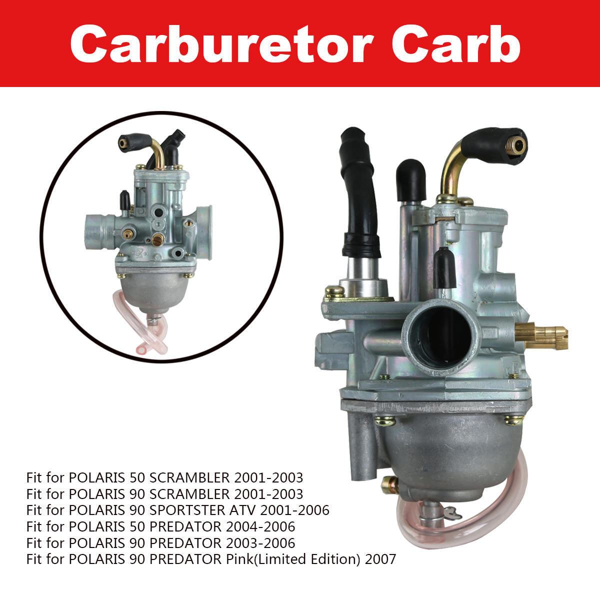 Carburetor FITS POLARIS PREDATOR 90 2003 2004 2005 2006 ATV Manual Cable Choke